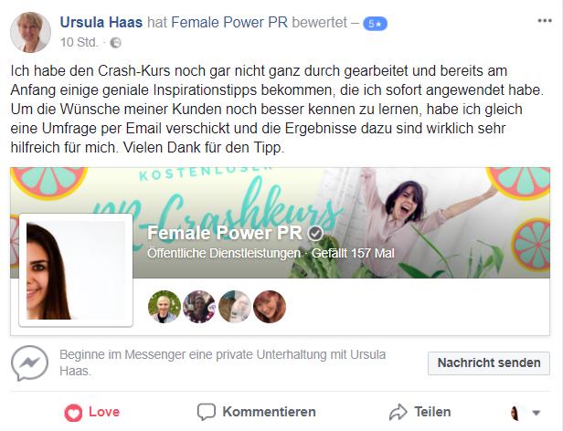 PR & Marketing Crashkurs Bewertung - Aline Pelzer - PR & Marketing