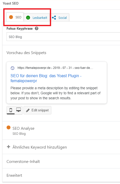 SEO-Blog-Yoast_Analyse