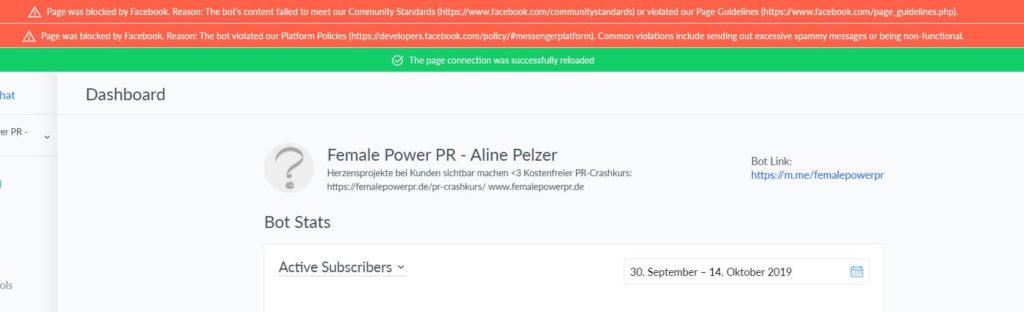 Facebook-Seite-gesperrt-Manychat-Female-Power-PR