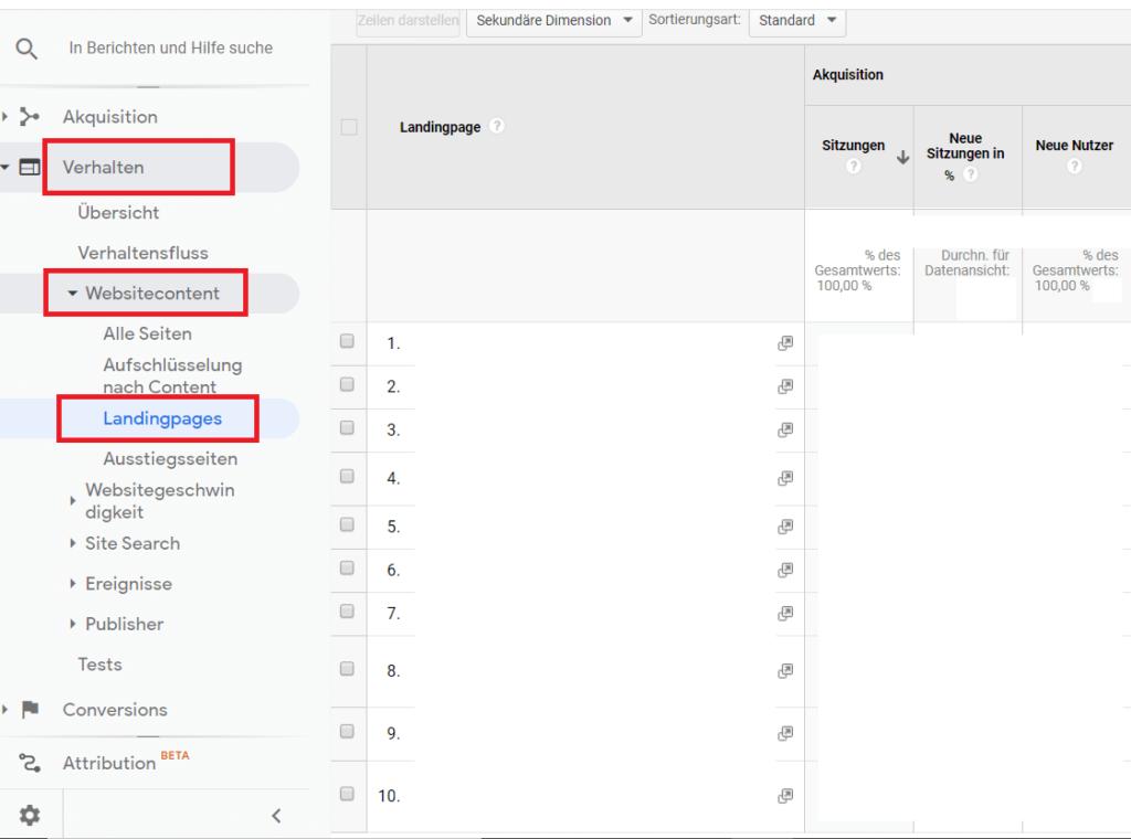 Google-Analytics-Verhalten-Websitcontent-Landingpages