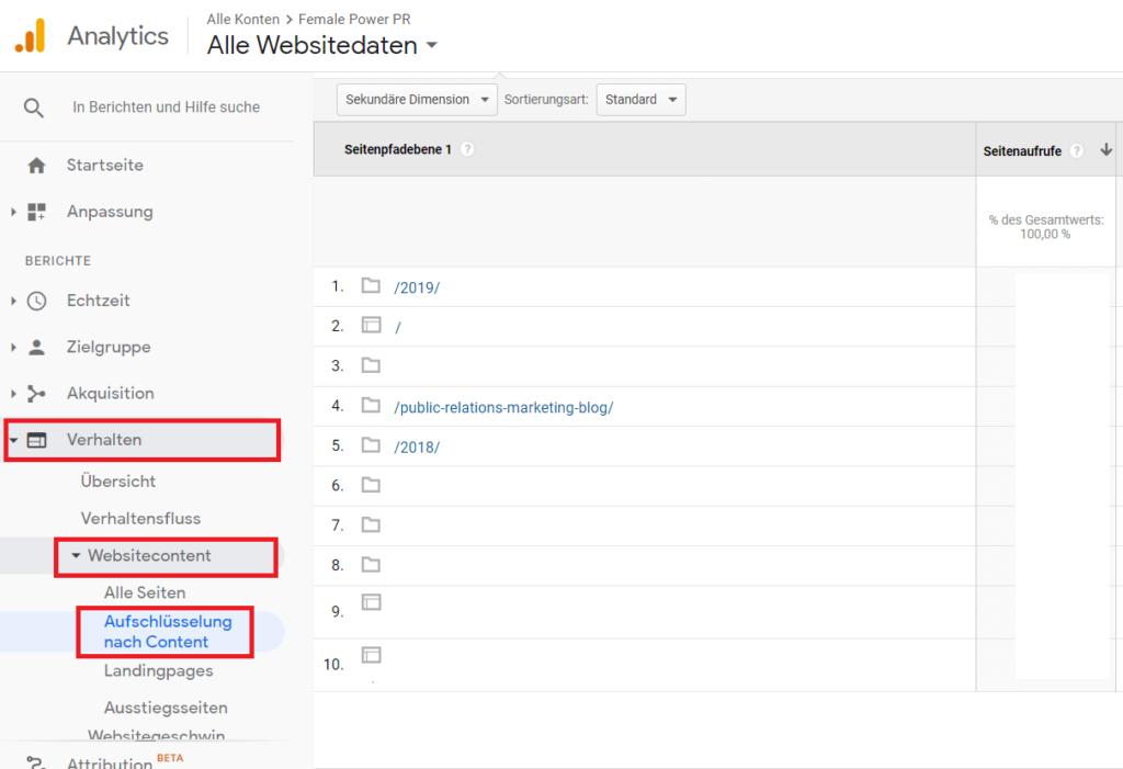 Google-Analytics-Verhalten-Websitecontent-Aufschlüsselung nach Content