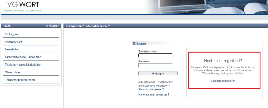 VG-Wort registrierung