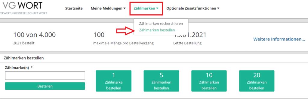 VG-Wort zählmarken bestellen